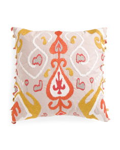 Made In India 20x20 Embroidered Tassel Pillow