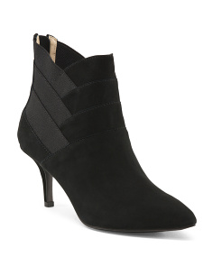 Elastic Accent Suede Dress Booties