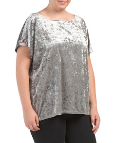 Plus Velvet Cold Shoulder Top