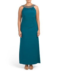 Plus Beaded Neck Side Shirring Gown