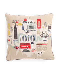 20x20 Embroidered London Map Pillow