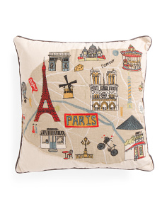 20x20 Embroidered Paris Pillow