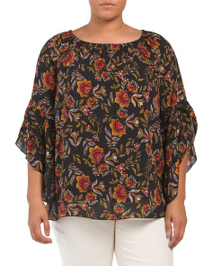 Plus Floral Ruffle Sleeve Blouse