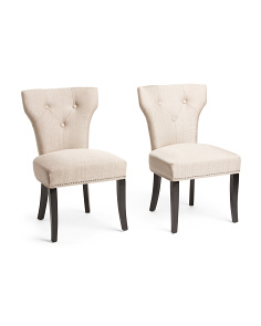 Set Of 2 Bicci Tuxedo Faux Linen Chairs