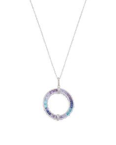 Sterling Silver Tonal Blue Cubic Zirconia Circle Necklace
