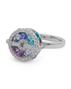 Sterling Silver Tonal Blue Cubic Zirconia Round Ring
