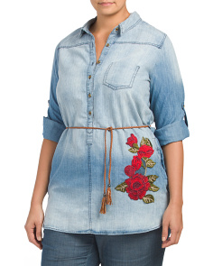 Plus Juniors Embroidered Denim Tunic