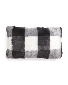 14x24 Buffalo Plaid Faux Fur Pillow