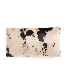 14x24 Cow Print Faux Fur Pillow