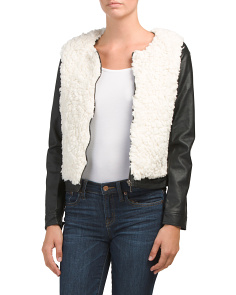 Juniors Faux Leather Varsity Jacket