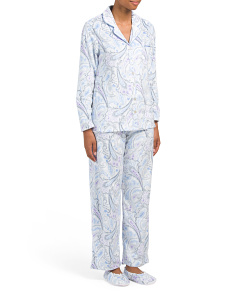 Paisley Fleece Pajama Set With Slippers