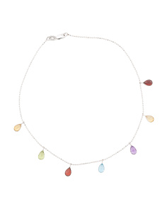 Made In USA 14k White Gold Multi Gemstone Anklet