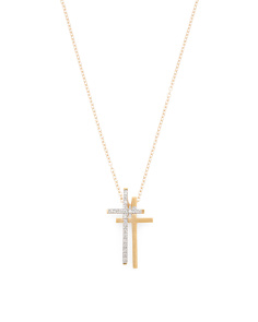 Made In Israel 14k Gold And Diamond Double Cross Necklace
