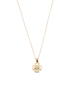Made In Israel 14k Gold And Diamond Jerusalem Cross Necklace