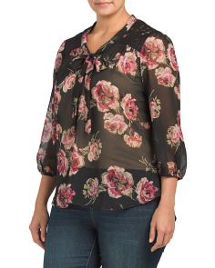 Plus Floral Bow Blouse With Lace