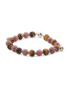 Made In Italy Sterling Silver Bamboo And Rhodonite Bracelet