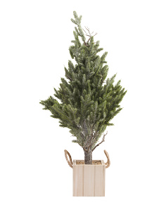 3ft Faux Fir Tree In Wood Pot