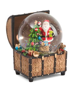 Santa In Treasure Box Snow Globe