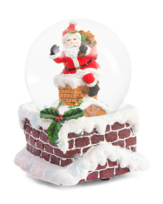 Santa On Chimney Snow Globe