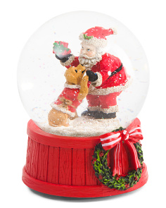 Santa With Dog Snow Globe