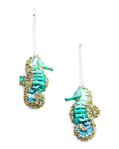 2pc Glass Seahorse Ornaments
