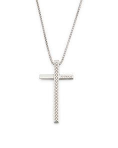 Made In Italy 18k White Gold Diamantissima Cross Necklace