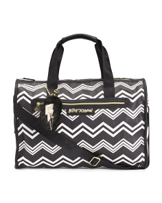 Chevron Print Duffel With Dangle