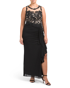 Plus Illusion Lace Gown