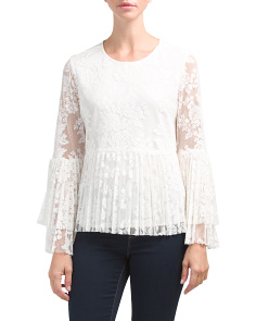 Crew Neck Bell Sleeve Lace Top