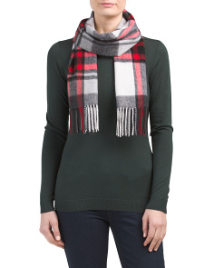 Printed Fringed Cashmere Scarf