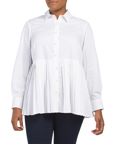 Plus Pleated Faux Pearl Button Shirt