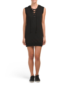 Hooded Lace Up Lounge Dress