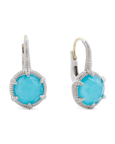 Sterling Silver Turquoise Doublet Eclipse Earrings
