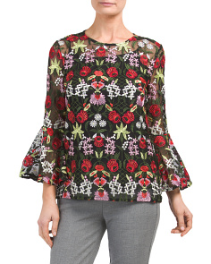 Bell Sleeve Floral Lace Top