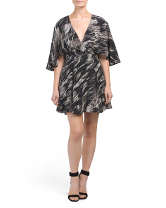 Cape Sleeve Printed Silk Dress