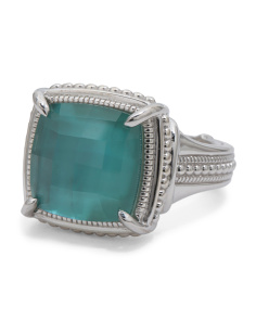Sterling Silver Teal Triplet Legacy Collection Ring