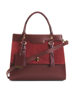 Made In Italy Color Block Leather Satchel