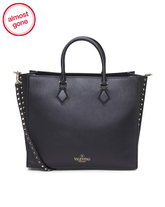 Made In Italy Rockstud Leather Tote