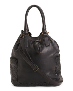 Made In Italy Woven Vaccheta Leather Tote