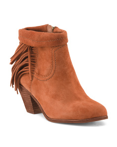 Side Fringe Suede Booties