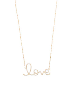 14k Gold Diamond Script Love Necklace