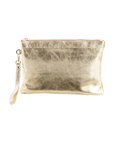 Made In Italy Metallic Leather Bracelet Clutch