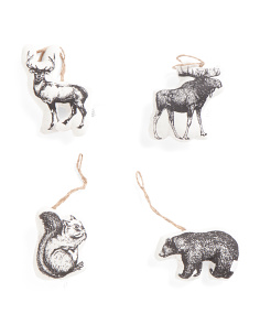 4pc Woodland Animal Ornaments