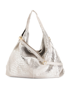 Made In Italy Metallic Leather Hobo