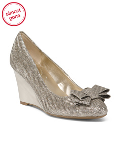 Round Toe Wedges With Bow