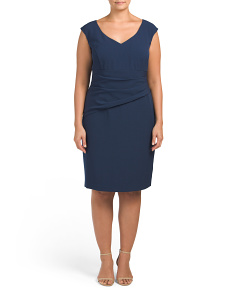 Plus Shirred Waist V Neck Sheath Dress
