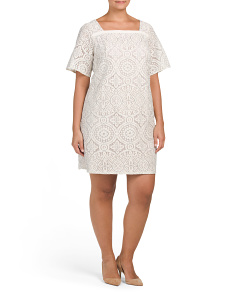 Plus Square Neck Lace Dress