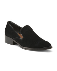 Narrow Stacked Heel Suede Loafers
