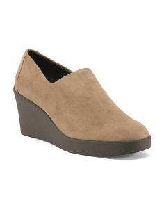 Narrow Stretch Suede Slip On Wedges