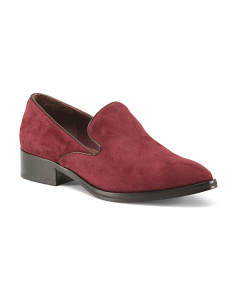Stacked Heel Suede Loafers